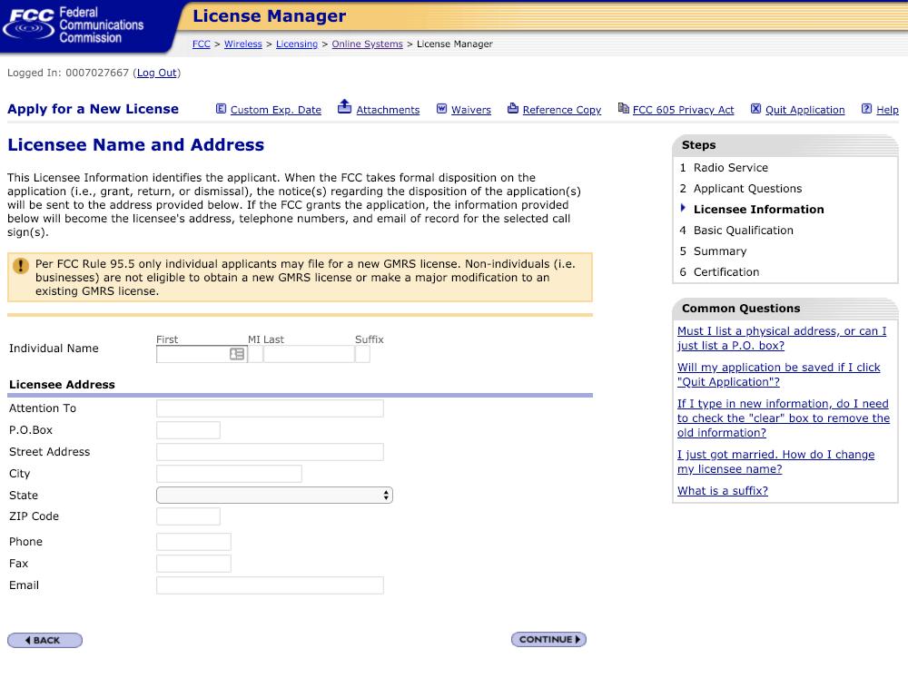 licensee name & address