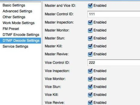 DTMF Decode settings 1