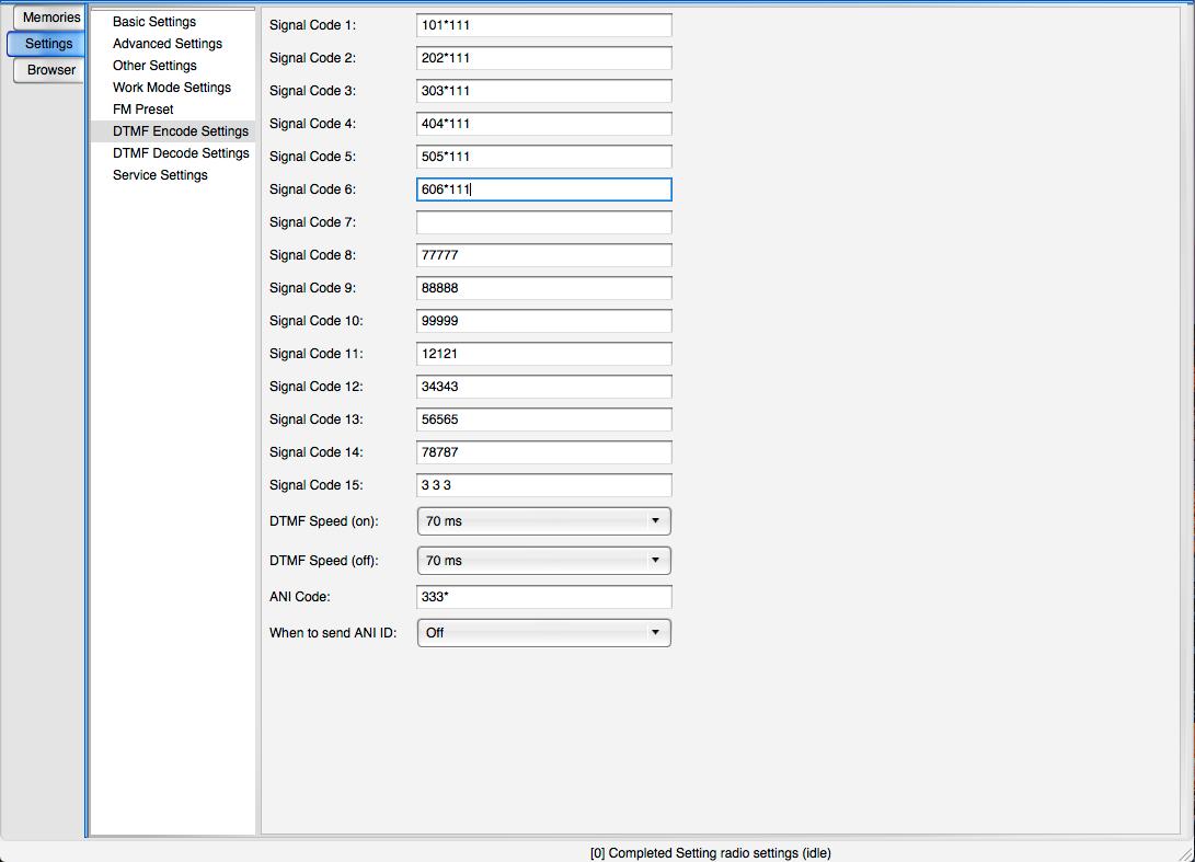 DTMF Encode setting code