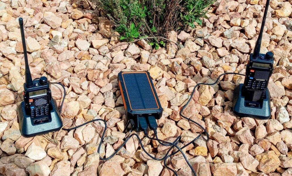 Solar power charging Baofeng radio
